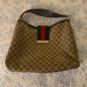 Authentic GG CANVAS HOBO GUCCI large web hobo